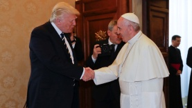 Pope Francis meets U.S. President Donald Trump and his wife Melania during a private audience at the Vatican